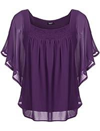 Zeagoo Damen Sommer Casual Loose Fit Kurzarm Fledermaus Batwing T-Shirt  Shirt Chiffon Top Bluse e74f7de3ef
