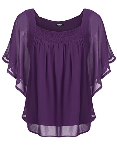 Zeagoo Damen Sommer Casual Loose Fit Kurzarm Fledermaus Batwing T-Shirt Shirt Chiffon Top Bluse, EU 36(Herstellergröße:S), Y-Lila
