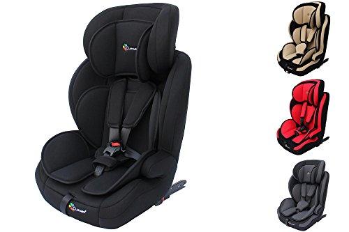 Clamaro'Guardian Isofix 2018' Kinderautositz 9-36 kg mit ISOFIX, Kopfstütze verstellbar mitwachsend, Auto Kindersitz für Kinder von 1-12 Jahre, Gruppe 1/2/3, ECE R44/04, Farbe: Schwarz