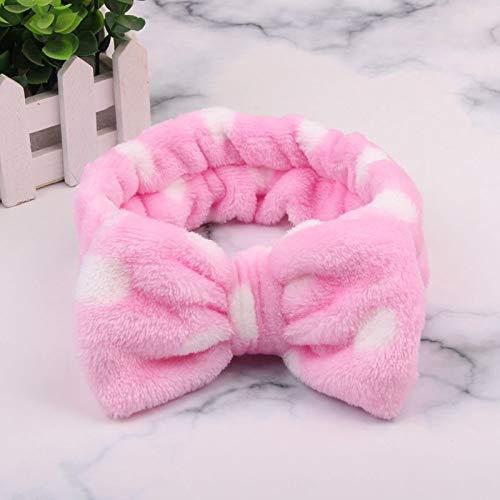 CFADAI Gesicht Waschen Stirnband Haarbänder,Haarband Coral Velvet Makeup Butterfly Ende Haar Band Cute Pink Wave Punkt Waschen Kopfband Haarband Haar Handtuch -