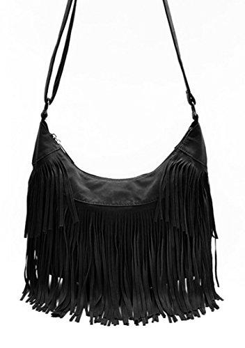 Aivtalk - Damen Fashion Fransentasche Handtasche Schultertasche Umhängetasche aus künstlichem Wildleder - Schwarz (Fransen Leder Damen)