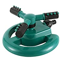 ZhongYe Garden Sprinkler Automatic 360° Rotating Lawn Water Sprinkler Irrigation System with 3 Arm Round Sprayer for Large Lawn Area Hose, Easy to Connect Hose