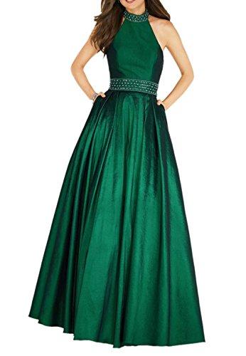Charmant Damen Royal Blau Langes Abendkleider Promkleider A-linie Satin Partykleider Festlichkleider Neu Dunkel Gruen