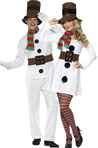 Couples Ladies Mens Snowman Christmas Festive Xmas Fancy Dress Costumes Outfits (Ladies UK 16-18 & Mens XL) White