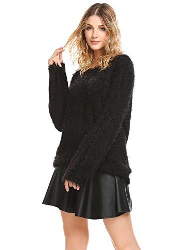 Zeagoo Damen Pullover Winter Leichter Strickpullover Sweater Langarm Oberteile Strick Elegant Schwarz