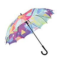 AmaGo One-Piece-Fabric Umbrella - Seamless Design, No Sewing, 230T Pongee for Better Waterproof, Dual Ribs for Better Windproof, Auto-Open, Business Casual Stick Umbrella (Colourful World)