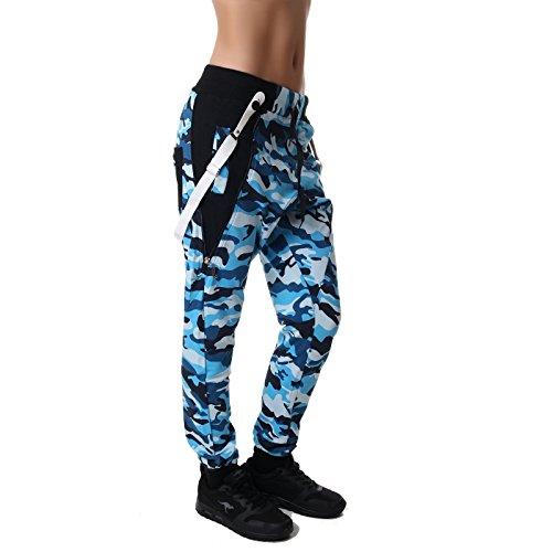 Camouflage Jogginghose Boyfriendhose Bagyyhose mit Hosentäger von Crazy Age CA 1119 Cam Blau
