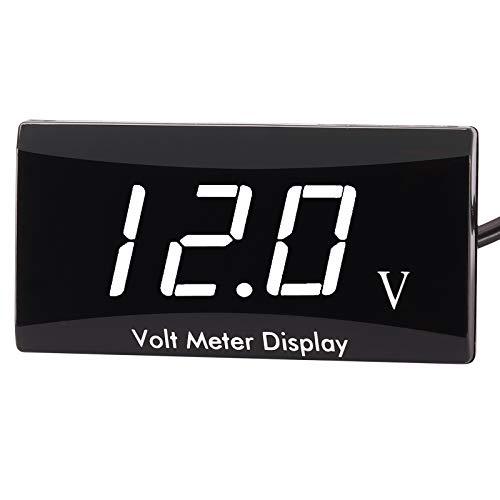 Kinstecks [Verbesserte Version Motorrad Voltmeter DC 12V Digital Voltmeter Anzeige LED-Anzeige Spannungsmesser für Motorrad-Autobatterie-Spannungswächter-Weiß