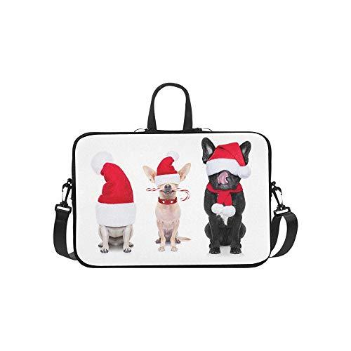 Gruppe Santa Claus Dogs Christmas Holidays Stockfoto Muster-Aktenkoffer-Laptoptasche-Kurier-Schulter-Arbeitstasche Crossbody-Handtasche für das Geschäftsreisen