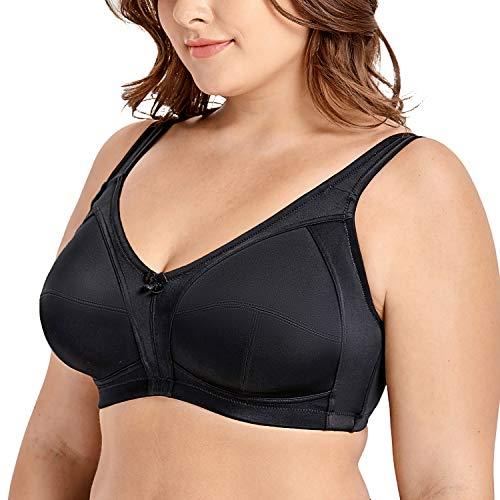 Delimira Femme Soutien-Gorge sans Armature Emboîtant Grande Taille Maintien Noir FR:95E