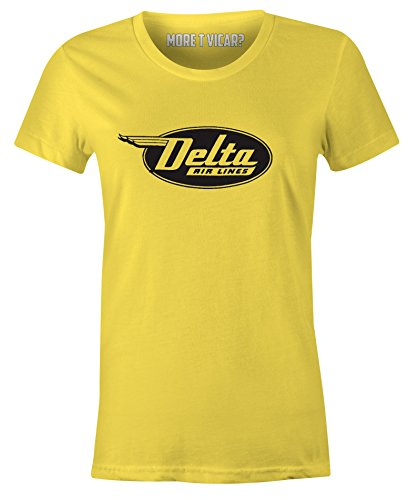 Delta Airlines - Damen Retro Flugzeug Logo T-Shirt Gelb