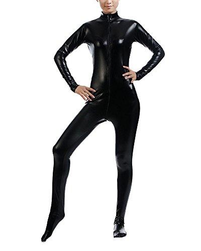 (Ganzkörperanzug Anzug Suit Kostüm Shiny Ganzkörperanzug Kostüm Schwarz XXL)