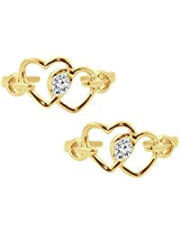 Silvernshine Women's D/VVS1 Diamond 14K Yellow Gold Fn .925 Sterling Silver Double Heart Adjustable Toe Ring Set