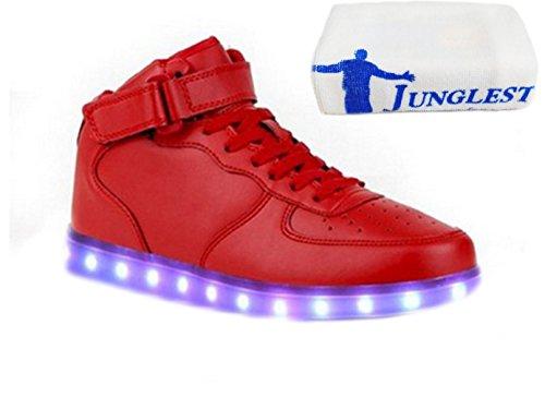 [Present:kleines Handtuch]JUNGLEST® 7 Farbe Wechseln USB aufladen LED-Licht Leuchtend Mode Sportschuhe Freizeitschuhe Outdoorschuhe Laufschuhe Schuhe Sneaker fü Rote