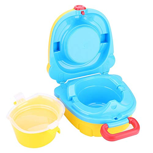 Tragbare Baby WC Reise Camping Toilettensitz Töpfchen Faltbare Kinder Training Bedpan Stuhl Assistent Hygiene Versorgung Lagerung Haken für Outdoor Indoor(Gelb) -