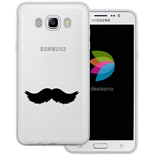 (dessana Mustache Transparente Schutzhülle Handy Case Cover Tasche für Samsung Galaxy J7 (2016) Walross Bart)