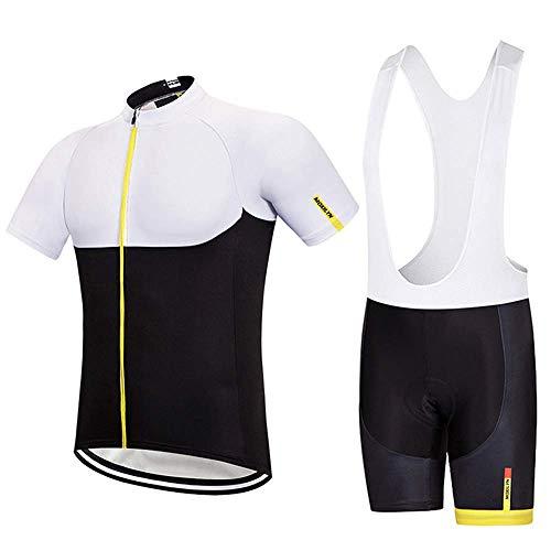 Bike Wear Radsport MTB Bekleidung Herren Sommer Trikots & Shirts/Radtrikot Set, Atmungsaktiv Schnelltrocknend Kurzarm Radsport-Shirt + Gel Gepolsterte Shorts (White,S)