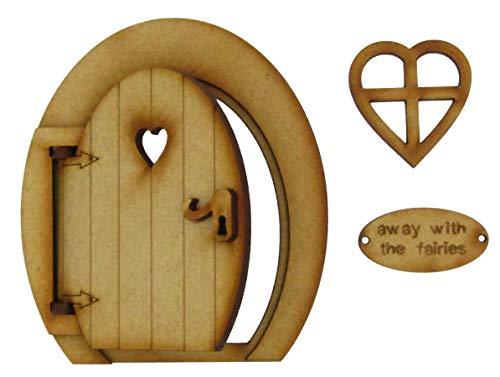 Kleine magische Öffnung Fairy Tür. Runde dreidimensionale Fairy Tür. Hölzerne Selbstmontage ()