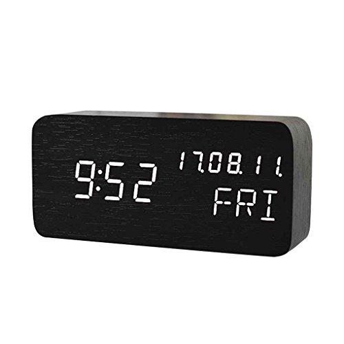 Kakiyi Sonic Digital LED Wecker-Ton-Sprachsteuerung Desktop-Tabelle Taktgeber-Temperatur Woche Anzeige Wecker