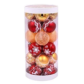 Luo-401XX 24Pcs Adorno De Bolas De Navidad, Copo De Nieve Elk Imprimir Decoraciones Redondas De árboles De Navidad Bola Colgante para Decoración De Fiesta De Boda De Vacaciones