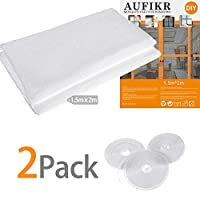 2 Pack Insect Screen Net for Windows with 3 Rolls Self-Adhesive Tapes, Fly Bug Insect Screen Mesh Mosquito Protector Kit, 2.0m x 1.5m, White
