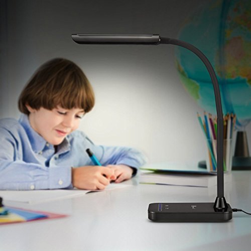 Desk Lamp, TaoTronics LED Dimmable table lamps Touch Eye-Care light (7W, Black, Flexible Gooseneck, 7-Level Dimmer, Slide Touch-Sensitive Control Panel, No Dark Area, No Ghosting, No Glaring) Luna L1