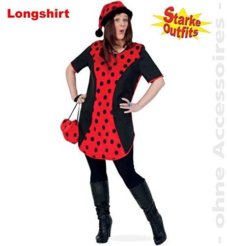 (Marienkäfer Big Mary mit Plüsch 54 1tlg Damen Longshirt Big Shirt Fasching Marienkäfer-Kostüm für starke Frauen große Groessen)