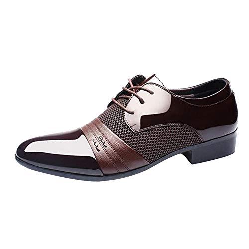 Sannysis Herren Geschäfts Arbeitsschuhe Lässig Oxford Schuhe Lace-Up Spitzen Lederschuhe Lackleder Hochzeit Derby Schnürhalbschuhe