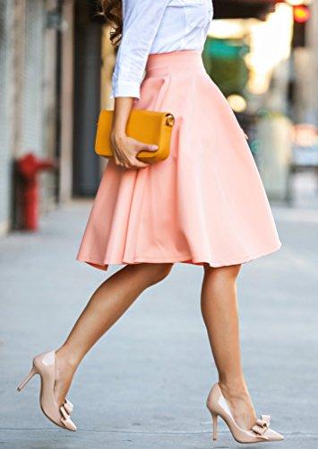WanYang Donna Lunghezza Ginocchia Autunno Estate Gonna con Cintura Colore Solido Vita Alta Moda Gonne Midi Boho Gonne Breve Sexy Slim Rosa