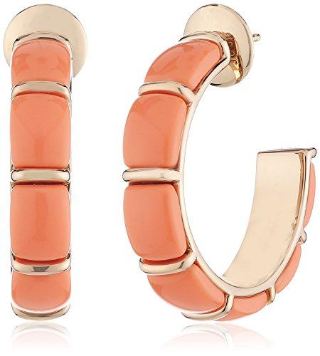Joop Damen-Creolen 925 Sterling Silber Harz Coral rot JPER90299C000