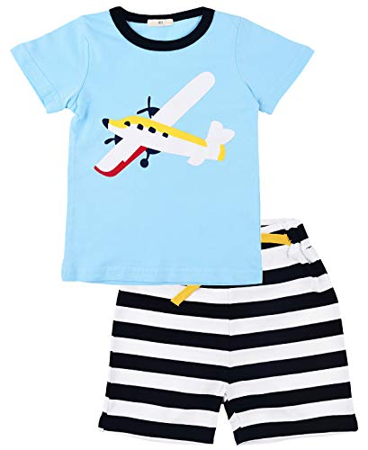 EULLA Jungen Zweiteiliger Schlafanzug Baumwolle Kurzarm Nachtwäsche Flugzeuge/Segeln Kinder Pyjama, 02 Blau, 110 (Herstellergröße: 120) - 2 Stück Kurzarm-pyjama