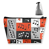 Travel Makeup Bag - Graphic Music Notes Design Makeup Pouch Toiletry Storage Clutch Organizer with...