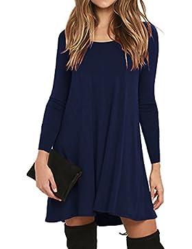 V-toto Donna Vestito Casuale T-shirt Abitos Manica Lunga Rotondo Collo Beach Vestiti A-Line Stile Dress Con Tasca