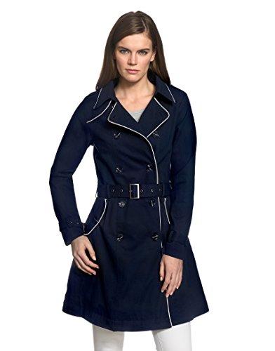 Vincenzo Boretti Damen Trenchcoat 100% Baumwolle Mantel Übergangs-Jacke modern elegant Übergang Style für Frühling Herbst Sommer sowie Business und Freizeit dunkelblau S