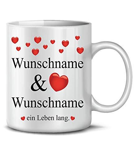 Golebros Wunsch Name EIN Leben Lang 6293 Tasse Becher Kaffee Valentins Pärchen Partner Geburtstags Hochzeits Jahres Tag Paare Geschenk für Sie Frau ihn Mann