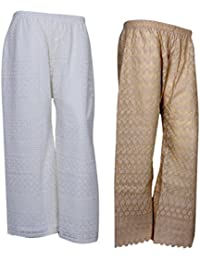 IndiStar Women Combo Pack (Pack Of 1 Georgette Pallazo With Astar And 1 Cotton Chikan Work Pallazo)