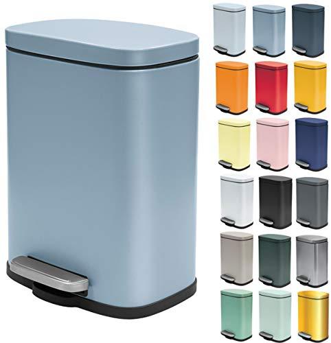 Spirella Kosmetikeimer 5 Liter Edelstahl mit Absenkautomatik und Inneneimer Akira Badezimmer Mülleimer Softclose Abfalleimer blau matt