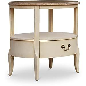 Table basse ronde antique 2 niveaux 1 tiroir - Bois