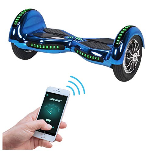 Robway W3 Hoverboard - Das Original - Samsung Marken Akku - Self Balance - 22 Farben - Bluetooth - 2 x 400 Watt Motor - 10 Zoll Luftreifen (Blau Chrom)