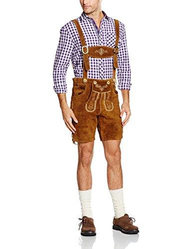 Gaudi-Leathers Herren Trachten Lederhose Shorts kurz mit Träger in Braun (Hellbraun 040), W37 (Herstellergröße: 50)