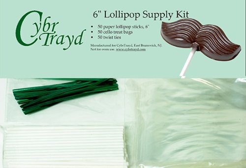 Cybrtrayd 6stk50p 50 6 St. Patrick 's Day Lollipop Stick Paket mit 50-green Twist Krawatten und 50-cello Staubbeutel