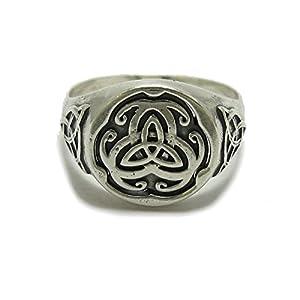 Sterling Silber Celtic Herrenring massiv 925 Triskelion R001790