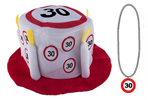 eburtstagset 30 Jahre Verkehrsschild : Hut mit Halskette ()
