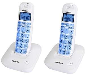 Logicom GT 302 Duo Téléphone sans fil DECT Mains-libres Grandes touches Blanc