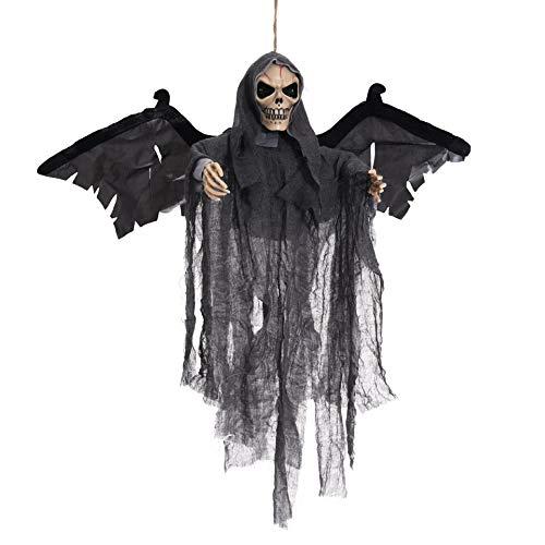 BONNIO Hängende Geist Halloween Requisiten Dekorationen Haunted Ghost Leuchten Augen beängstigend Stimme