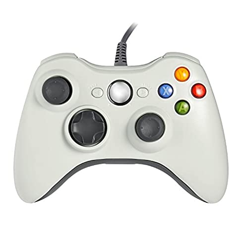 Homgrace XBOX 360 Controller USB Gamepad Game Controller Kabelgebunden Joypad für Windows PC / Android Handy / PS3 / Smart TV / Tablet (Weiß)