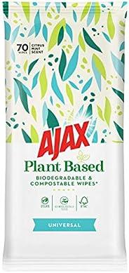 Ajax Wipes Universal, Rengörande, Veganmärkta Växtbaserade Städservetter, Biologiskt Nedbrytbara och Komposter