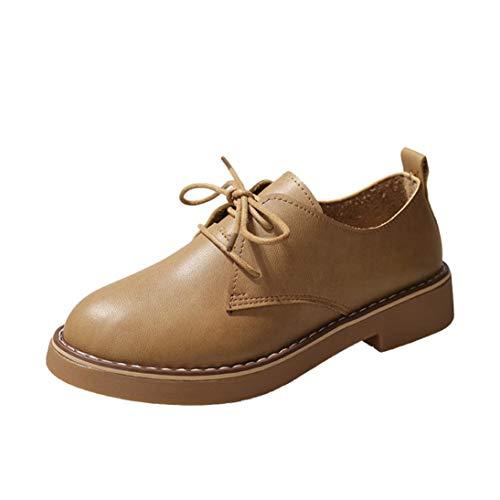 Schuhe Damen Schwarz, Sonnena Mode Oxford Lederstiefel Lackstiefel Klassische Flache Ferse Schnürer Knöchel Stiefel Boots Casual Booties Damenstiefel Schuhe Braun Beige