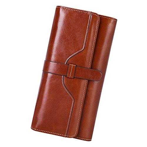 S-ZONE Modell Berlin Klassische Damen-Geldbörse aus Echt-Leder Elegantes Designer-Portemonnaie Ideale Brieftasche zum Ausgehen und im Alltag Großer Geld-Beutel für stilsichere Frauen (Braun) -
