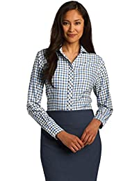 Red House® Ladies Tricolor Check Non-Iron Shirt. RH75 Sky Blue/ Grey